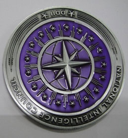 Coin featuring transparent color epoxy